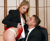 Blonde secretary Aria Logan gets very deep oral and fucking on the desk