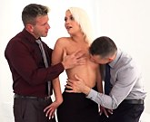 Colleagues give sexy blonde double penetration