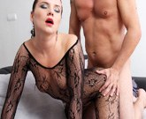 Czech Shara Jones fucks with her husband in fishnet jumpsuit!