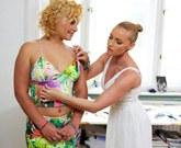Lesbians Kathia Nobili and Lana fucking passionately at the office